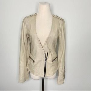 NEW Doma Studded Leather Jacket Beige Ecru Small
